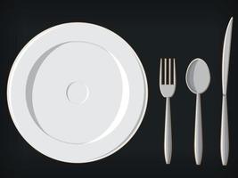 Banquete jantar formal utensílios prato garfo colher faca ilustração vetor