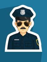 mascote da polícia policial perfil do agente da lei desenho vetorial vetor