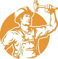 trabalhador da construção civil silhueta segurando a ilustração do logotipo do martelo vetor