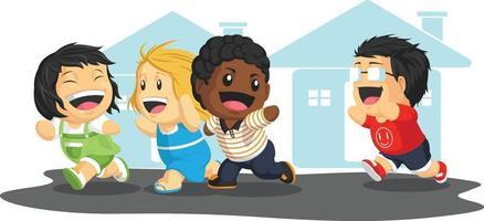 crianças brincando de tag ilustração de desenhos animados de férias de amigos de infância vetor