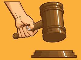 mão batendo martelo juiz martelo julgamento desenho desenho animado símbolo vetor