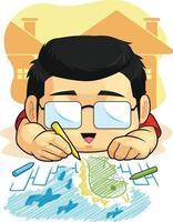menino desenhando rabiscando ilustração de desenho animado atividade educação infantil vetor