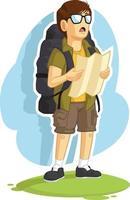 mochileiro menino lendo caminhada mapa direção de viagem desenho cartoon