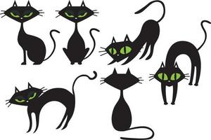 conjunto de ilustração de gato preto vetor