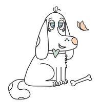 menino bonito cachorro. animal de estimação engraçado caseiro com gravata borboleta e osso vetor