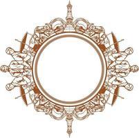 desenho de vetor de silhueta decorativa de ornamento de java tradicional