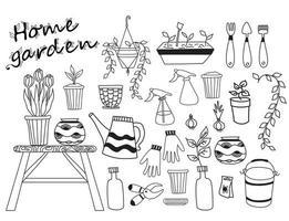 jardim da casa. conjunto de plantas de interior, vasos de flores, ferramentas de jardinagem vetor