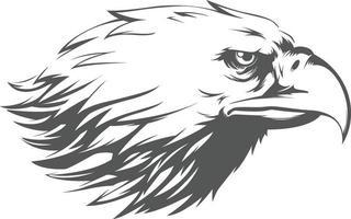 águia falcão falcão cabeça perfil vista lateral silhueta ilustração preta vetor