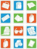 ícones férias viagens símbolo férias mala mala passaporte desenho vetor