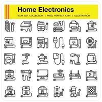 conjunto de ícones de contorno de eletrodomésticos vetor