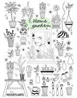 mulher idosa em um interior verde em uma janela aberta. conjunto de rabiscos, plantas domésticas e flores, plantas de uso tópico, móveis, ferramentas vetor
