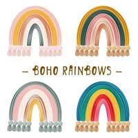 Boho clipart para decoração de berçário com bonitos arco-íris. perfeito para chá de bebê, aniversário, festa infantil vetor