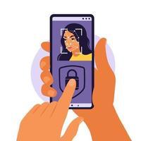 reconhecimento e identificação de rosto, conceito de identificação de rosto. mãos com telefones com identificação biométrica. ilustração vetorial. apartamento vetor