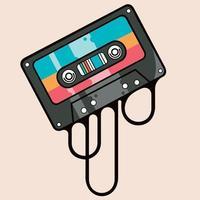 fita cassete de música colorida vetor