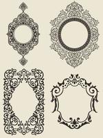 quadro preto branco silhueta ornamento divisor de borda desenho vetorial vetor