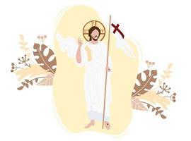 ressurreição do ícone de Cristo. ele venceu a morte e ressuscitou. Cristo fica com a bandeira da vitória em um fundo com decoração. ilustração vetorial vetor