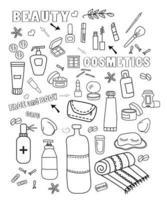cosméticos viagem conjunto doodle vetor