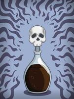 Elixir de veneno, poção de bruxa mortal, desenho de frasco de mistura vetor