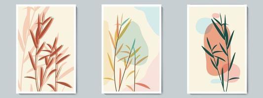 parede botânica arte vetor cartaz primavera, conjunto de verão. arbusto minimalista com forma simples abstrata