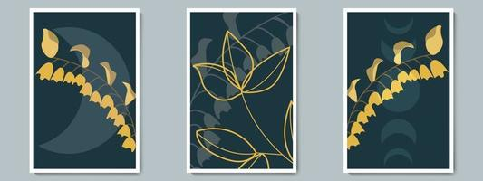conjunto de cartazes de arte vetorial botânica parede escura. folhagem sombra minimalista com fundo à noite.