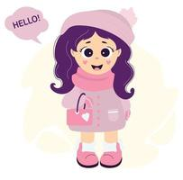 uma garota linda e fofa com roupas de inverno - um chapéu, um lenço, um casaco, luva e botas com uma pequena bolsa vetor