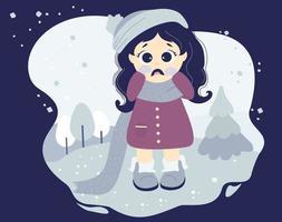 a menina está chorando e chateada, humor triste. personagem fofa em roupas de inverno vetor