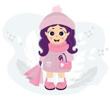 uma linda garota com roupas de inverno vai às compras vetor