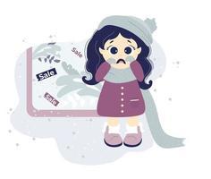 sem compras. menina chateada com roupas de inverno está chorando perto da vitrine de uma loja com uma venda sazonal. vetor