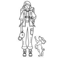 desenho de linha. uma garota turista em calças com bolsos está com uma mochila e um cachorro vetor