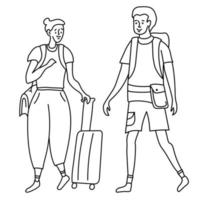 esboço linear desenho turistas garota e cara. ela tem uma bolsa no ombro e uma mala com rodinhas. vetor
