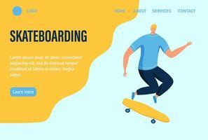 um jovem ou adolescente anda de skate. modelo de página da web de destino da página inicial do site. ilustração vetorial plana.