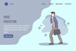 modelo de página da web de destino de proteção contra vírus com um homem usando uma máscara facial