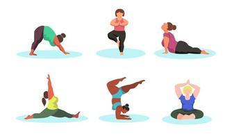 mulheres curvilíneas fazendo ioga vetor