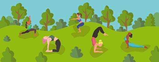 mulheres ioga ao ar livre