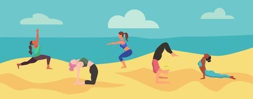 mulheres fazendo ioga na praia
