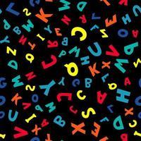 padrão sem emenda de letras multicoloridas em fundo preto