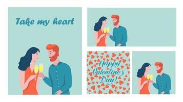 conjunto de cartão de dia dos namorados vetor