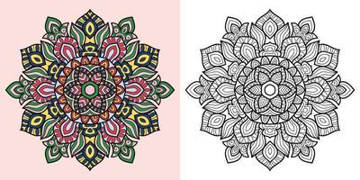 Doodle mandala livro de colorir para adultos e crianças. decorativo redondo branco e preto. padrões orientais de terapia anti-estresse. emaranhado zen abstrato. ilustração em vetor ioga meditação.