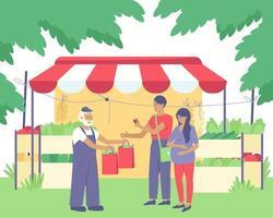 um fazendeiro vende vegetais para uma mulher grávida e seu marido vetor
