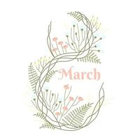 modelo de design simples e delicado com cartão de 8 de março em fundo branco vetor