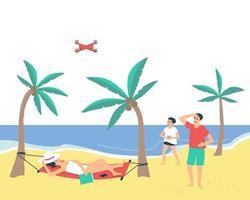família descansando na praia perto do mar vetor