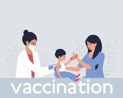 close-up a enfermeira dá a vacina à criança na presença da mãe vetor