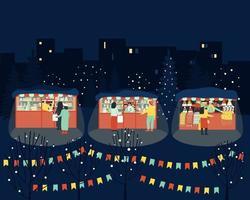mercado de inverno feliz à noite vetor