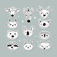 adesivos de retratos de animais simples - preguiça, coala, porco, ovelha, zebra, urso, esquilo, lebre, raposa, coruja, veado vetor