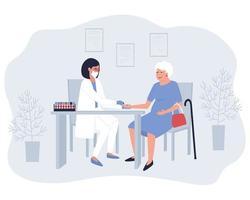 uma enfermeira tira sangue de um dedo para análise de uma mulher idosa vetor