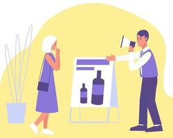 uma mulher ficou interessada em anunciar um produto cosmético vetor