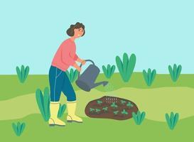 fazendeiro regando plantas vetor