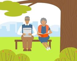 idosos estão lendo sentados em um banco em um parque vetor