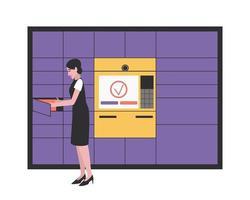 estação de correio automatizada para entrega rápida e segura de pacotes vetor