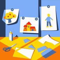 em uma mesa infantil, cortando papel colorido vetor